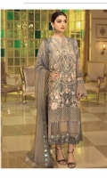 Embroidered Chiffon Front: 1 Yard Embroidered Organza Front Border: 1 Yard Embroidered Chiffon Back: 1 Yard Embroidered Organza Back Border: 1 Yard Embroidered Chiffon Dupatta: 2.5 Yard Embroidered Chiffon Sleeves: 0.75 Yard Embroidered Organza Sleeves Border: 1 Yard Raw Silk Trouser: 2.5 Yards