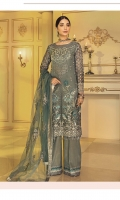Embroidered Chiffon Front with Handwork: 1 Yard Embroidered Organza Front Border: 1 Yard Embroidered Chiffon Back: 1 Yard Embroidered Organza Back Border: 1 Yard Embroidered Net Dupatta: 2.5 Yards Embroidered Organza Sleeves: 0.75 Yard Embroidered Organza Sleeves Border: 1 Yard Embroidered Organza Trouser Patch: 1.25 Yards Raw Silk Trouser: 2.5 Yards