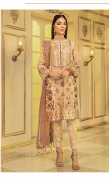 Embroidered Chiffon Front: 1 Yard Embroidered Organza Front Border: 1 Yard Embroidered Chiffon Back: 1 Yard Embroidered Organza Back Border: 1 Yard Embroidered Net Dupatta: 2.5 Yards Embroidered Chiffon Sleeves: 0.75 Yard Embroidered Chiffon Sleeves Border: 1 Yard Embroidered Organza Trouser Border: 1 Yard Raw Silk Trouser: 2.5 Yards
