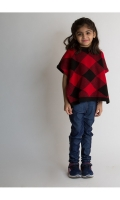 ENDEARING RED HALF SLEEVES GIRLS SWEATER WITH CHECKS DETAILS