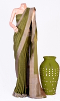 Maisori Tissue Fabric of Saree with Check Dote Style Design on Border and Anchal, Plain Blouse of Tissue, Zari Work.