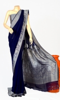 Fabric Saree Maisori Chiffon, Design Flower Zarbaft Style Blouse Zarbafat Zari & Resham Work