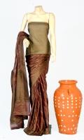 Maisori Tissue Fabric of Saree with Jaal Strip and Resham Zari Work on Anchal, Blouse Zarbafat Zari Work.