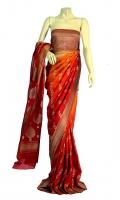 Maisori Chiffon Fabric of Saree that has Strip of Zari Work all over it and Zari Motifs on Anchal, Blouse of Zarbafat Style.