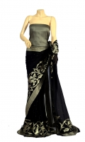 Maisori Chiffon Saree, with Semi Border Style Design And Blouse of Zarbaft Style.