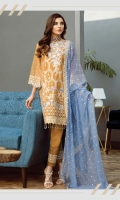 Organza Front Embroidered (hand work) 01 Yard Back Embroidered 01 Yard Sleeves Embroidered .75 Yard Sleeves Patti 1.5 Yard Daman Patti 02 Yard Trouser Patti 1.5Yard Dupatta 2.5 Yards Raw Silk Trouser 2.5 Yards