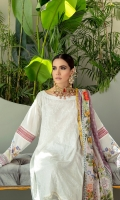 Shirt Embroidered Lawn Front 1.25 M  Printed Lawn Back 1.25 M  Printed Lawn Sleeves 0.75 M  2 Organza Borders  Dupatta Digital Printed Voil 2.5 M  Trouser White Cambric 2.5 M
