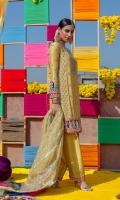 Shirt Raw Silk Embellished Front & Back. Raw Silk Embellished Sleeves. Dupatta Organza Embellished Dupatta. Shalwar Raw Silk Embellished Shalwar Front & Back.
