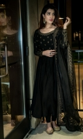 -Mehroze Pishwas is a flowy full length pishwas featuring intricately embroidered bodice and sleeves. The organza dupatta is embroidered with golden thread as shown in the picture.
