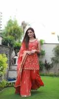 Product details: Fabric: Korean silk Items: 3 Colour: Rusty orange -Miral is comprised of a gotta embellished short kurti and sharara. It comes with a gorgeous brocade dupatta.