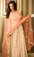3 Piece Upper: Self tilla booti white pishwas Dupatta: Peach with embroidered thread flowers on chiffon Lower: Plain churidaar pants