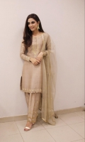 """A traditional cotton silk shalwar kameez with detailed gold work on the neckline, sleeves and """"scalloped"""" hem. Three piece jora that comes with a beautiful gold kundun zari dupata."""