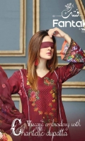 Three pcs embroidered viscose suit with chantelle dupatta