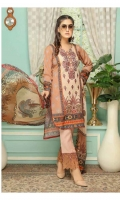 Digital Printed Embroidered Lawn Shirt Digital Printed Bamber Chiffon Dupatta Dyed Trouser with Embroidered Patch