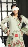Peach Embroidered Shirt  Digital Wool Shawl  Simple Trouser