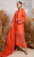 A classic mono-tone jewel-toned statement outfit that is all the rage in current trends! A striking coral toned ensemble with a delicate cutwork sleeves, a modern neckline enhanced by intricate hand embellished motifs and a stunning cutwork trellis on the daaman. The forever flattering silhouette makes this an easy go-to outfit for every occasion! The beautifully embroidered organza dupatta uplifts your day or night look!