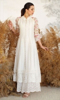 The classic ivory, uplifted by delicate cross stitch blooms and butterflies in shades of peach and magenta. Cut from pure cotton net, this universally flattering silhouette makes this outfit your ultimate solution to all occasions, big or small. Dramatic lantern sleeves dotted with Pair your shirt with our Cut Work Izaar pants and sky high heels to effortlessly elevate your ensemble.