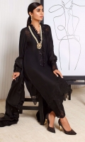 Be the epitome of elegance with our onyx shirt and dupatta. The pure silk shirt boasts a delicately hand ruffled neckline and beautiful lace inserts on the shoulders and enticingly shimmery sequins trailing down the neckline, The coordinating dupatta is finished with a lovely frill. Pair yours with our pure silk pants and statement earrings for a head turning look!!