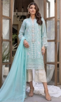 Sapphire blue embellished cotton net with dupatta