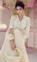 * Exclusively Weaved & Embroidered Shirt Front (Jacquard)  * Exclusively Weaved Shirt Back (Jacquard)  * Exclusively Weaved Sleeves (Jacquard)  * Exclusively Weaved Self-Design Trouser  * Embroidered Dupatta on Debby (Organza)  * Embroidered Sleeves Patch  * Embroidered Brooch