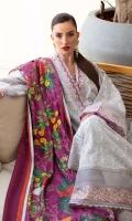 * Shirt Front Exclusively Embroidered Schiffli on Pima Lawn * Shirt Back Exclusively Embroidered Schiffli on Pima Lawn * Sleeves Exclusively Embroidered Schiffli on Pima Lawn * Trouser (Jacquard) * Digitally Printed Dupatta (Medium Silk) * Embroidered Border on Organza (1 meter) * Embroidered Border on Organza (1 meter)