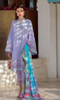 * Shirt Front Exclusively Embroidered Schiffli on Pima Lawn * Shirt Back Exclusively Embroidered Schiffli on Pima Lawn * Sleeves Exclusively Embroidered Schiffli on Pima Lawn * Trouser (Jacquard) * Digitally Printed Dupatta (Chiffon) * Embroidered Border on Organza (1 meter) * Embroidered Border on Organza (1 meter)