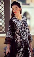* Shirt Front Exclusively Weaved and Embroidered Jacquard * Shirt Back Exclusively Weaved Jacquard * Sleeves Exclusively Weaved and Embroidered Jacquard * Trouser (Jacquard) * Exclusively Embroidered Dupatta (Chiffon) * Digitally Printed Border on Lawn (2 meter)