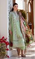 * Shirt Front Exclusively Embroidered on Pima Lawn * Shirt Back on Pima Lawn * Sleeves Exclusively Embroidered on Pima Lawn * Trouser (Jacquard) * Digitally Printed Dupatta (Medium Silk) * Exclusively Embroidered Schiffli Border (1.8 meter)