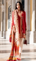 Exclusively weaved and embroidered shirt front (Jacquard) Exclusively weaved and embroidered shirt back (Jacquard) Exclusively weaved sleeves (Jacquard) Exclusively weaved self designed trouser Digitally printed dupatta (medium silk) Embroidered border and patches