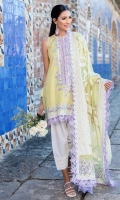Exclusively weaved and embroidered shirt front (Jacquard) Exclusively weaved and embroidered shirt back (Jacquard) Exclusively weaved sleeves (Jacquard) Exclusively weaved self designed trouser Exclusively weaved dupatta on dobby (Organza) Embroidered border