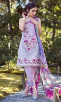 Pearl print shirt front (pima lawn) Pearl print shirt back (pima lawn) Pearl print sleeves (pima lawn) Digital printed dupatta (chiffon) Printed trouser (cambric) Digital printed border Embroidered neck patch Embroidered border