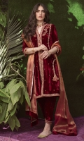 Cut from a rich crimson velvet, this universally flattering silhouette is richly embroidered in gold and silk thread-work un shades of Scarlett and burnt orange. Pair with our co ordinating shalwar and gold khussas for a striking traditional look  * Crush Silk Dupatta included.