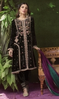 An absolutely striking front open shirt in a deep onyx velvet. A fully hand worked front in gold and silk thread work in shades of magenta and emerald make this the ideal for any occasion this festive season. Pair with our embroidered velvet shalwar and statement earrings to make a stunning visual impact wherever you go.  * Crush Silk Dupatta included.