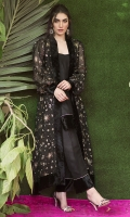 Impeccably constructed and delicately embroidered with shooting stars, this long jacket with statement sleeves is cut from pure silk organza is an absolute fail safe piece. This romantic and feminine design is a showstopper no matter what the occasion. Cinch at the waist with the accompanying belt or drape over your shoulders to make a real style statement. Pair with our pure silk shalwar, dangly earrings and high heels for an unforgettably glamorous look.