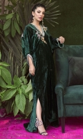 This opulent emerald green kaftan simply exudes glamour. It is cut from plush velvet and adorned with intricately hand embroidered floral motifs on the front and back necklines. Style yours with sky high stilettos and statement earrings for a head turning look at any festivity this season!!