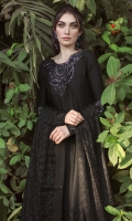 Be the epitome of elegance with our onyx kalidaar and dupatta. The pure silk kalidar boasts a delicately hand embroidered neckline and sleeve cuffs with enticingly shimmery sequins. The coordinating dupatta is fully embroidered with glimmering sequins finishing. Pair yours with our pure silk pants and statement earrings for a head turning look!!
