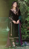 A gorgeous, deep black velvet kurta with an intricately embellished neckline in gold and silk-thread work in shades of emerald, fuschia and magenta. The stunning back has a lovely detailed neckline, sure to make an impact at any event this festive season. Pair your outfit with our delicately embellished pure silk shalwar and statement earrings for an effortlessly chic look.  * Crush Silk Dupatta included.