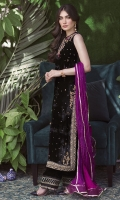 A gorgeous, deep black velvet shirt with an intricately embellished neckline in gold and silk-thread work in shades of emerald, fuschia and magenta. The stunning back has a lovely detailed neckline, sure to make an impact at any event this festive season. Pair your outfit with our delicately embellished velvet izaar and statement earrings for an effortlessly chic look.  * Crush Silk Dupatta included.