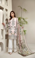 PRINTED LAWN SHIRT PRINTED LAWN BACK & SLEEVES PRINTED CHIFFON DUPATTA EMBROIDERED FRONT BORDER EMBROIDERED NECKLINE PATCH DYED ORGANZA DYED CAMBRIC LAWN TROUSER