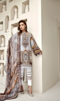 PRINTED LAWN SHIRT PRINTED LAWN BACK & SLEEVES PRINTED CHIFFON DUPATTA EMBROIDERED NECKLINE PATCH DYED ORGANZA DYED CAMBRIC LAWN TROUSER