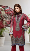 PRINTED LAWN SHIRT PRINTED LAWN BACK & SLEEVES PRINTED CHIFFON DUPATTA EMBROIDERED FRONT BORDER EMBROIDERED NECKLINE PATCH DYED CAMBRIC LAWN TROUSER