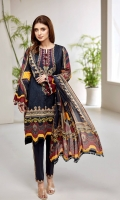 PRINTED LAWN SHIRT PRINTED LAWN BACK & SLEEVES PRINTED SILK DUPATTA EMBROIDERED NECKLINE PATCH DYED ORGANZA DYED CAMBRIC LAWN TROUSER