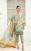 PRINTED LAWN FRONT PRINTED LAWN BACK & SLEEVES PRINTED CHIFFON DUPATTA EMBROIDERED NECKLINE PATCH EMBROIDERED TROUSER PATCH DYED CAMBRIC LAWN TROUSER