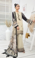 EMBROIDERED LAWN FRONT PRINTED BACK & SLEEVES PRINTED CHIFFON DUPATTA EMBROIDERED FRONT BORDER EMBROIDERED TROUSER PATCH DYED CAMBRIC LAWN TROUSER