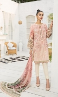 PRINTED LAWN FRONT PRINTED BACK & SLEEVES PRINTED CHIFFON DUPATTA EMBROIDERED FRONT PATCH DYED CAMBRIC LAWN TROUSER