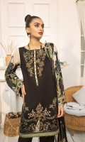 PRINTED LAWN FRONT PRINTED BACK & SLEEVES PRINTED SILK DUPATTA EMBROIDERED FRONT BORDER EMBROIDERED NECKLINE PATCH DYED CAMBRIC LAWN TROUSER
