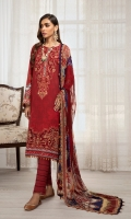 Digital Printed Lawn Front Digital Printed Back & Sleeves Embroidered Neckline Patch Embroidered Front Border Digital Printed Chiffon Dupatta Dyed Cambric Lawn Trouser