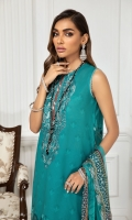 Digital Printed Lawn Front Digital Printed Back & Sleeves Embroidered Neckline Patch Embroidered Trouser Patch Digital Printed Chiffon Dupatta Dyed Cambric Lawn Trouser