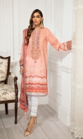 Digital Printed Lawn Front Digital Printed Back & Sleeves Embroidered Neckline Patch Embroidered Sleeves Border Digital Printed Chiffon Dupatta Dyed Cambric Lawn Trouser