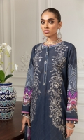 Digital Printed Lawn Front Digital Printed Back & Sleeves Embroidered Front Patches (2) Embroidered Front Border Digital Printed Chiffon Dupatta Dyed Cambric Lawn Trouser